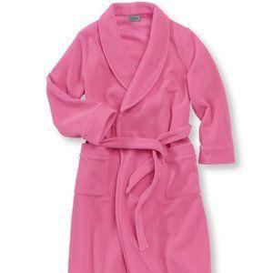 L.L. Bean Girls Cozy Pink Fleece Bathrobe Size L